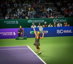 Radwanska Trophy Pose (otarboy79) Tags: canon drive women singapore stadium indoor tennis slice service volley wta backhand kallang forehand 2470f28 5dmk3