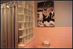 AUDREY!!! (marsha*morningstar) Tags: pink black bathroom grey blackwhite audreyhepburn moviestar showercurtain glassblockwall