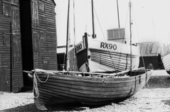Boats in Hastings (Laura Grimsley Photographer) Tags: wood blackandwhite texture film boats photography sussex boat grain perspective sails burn dodge hasting lauragrimsley