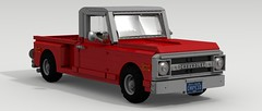 1969 Chevy C10 (large scale) (LegoGuyTom) Tags: old city classic chevrolet 1969 scale digital america truck work vintage bed power lego pov designer farm side large pickup step chevy american hauling legos download trucks 1960s 1970s v8 dropbox povray ldd worktruck stepside hauler lxf farmtruck legocity legodigitaldesigner