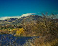 Squaw Butte And The  Payette River (http://fineartamerica.com/profiles/robert-bales.ht) Tags: blue usa southwest green water beautiful beauty grass horizontal creek wow river landscape dawn morninglight photo stream unitedstates emotion superb awesome scenic dramatic surreal environmental peaceful panoramic hike idaho boise pacificnorthwest environment sensational flowing inspirational spiritual sublime drama magical emmett magnificent inspiring flicker haybales stupendous payetteriver canonshooter treasurevalley gemcounty squawbutte robertbales emmettvalleytrees