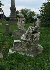 Somber (Viridia) Tags: newyorkcity trees summer sculpture ny newyork cemetery graveyard statue statues queens gravestone monuments necropolis oldstatue lutherancemetery oldstatues lutheranallfaithscemetery allfaithscemetery queenscemeterybelt