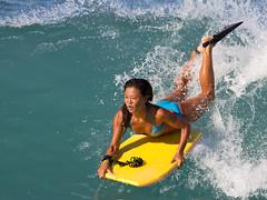 Not Swedish (RicoLeffanta) Tags: ocean blue woman girl sport lady female asian hawaii waikiki body rico bikini oh boogieboard boogieboarding leffanta