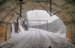 Three- track tunnel in railway station Suica (Mladja_IC431) Tags: winter tunnel snow train locomotives serbia beogradbar cold balkan railway railpassion railfan railroad railwaystation susica zlatibor zeleznicesrbije nature naturefan trainspotting