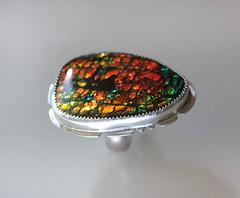 Feux d'Automne ring ~ (Modeste Parisienne) Tags: modesteparisiennejewelryjewellerygemstones ammolite ring