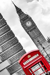1.00 p.m. (stefanobarabino) Tags: westminster europe am clock uk bw bnw red phonebooth telephone bigben london canon 1200d