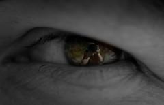 ...in the eye of the beholder... (e-box 65) Tags: auge eye macro black white schwarzweis reflection reflexion gesicht face spiegel mirror nikon camera schwarz weis