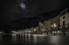 Moonlit Piazza (MarkWaidson) Tags: verona piazzabra moon clouds night empty waidson