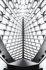 Milwaukee Art Museum - Looking Up (NikonD3xuser1(Thanks for 1.6 million visits)) Tags: usa wisconsin milwaukee milwaukeeartmuseum monochrome blackandwhite ceiling nikon d810 lake windows sky light