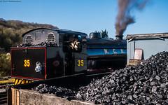 Coal (Paul GF3) Tags: england ebar embsay bolton abbey railway ncb national coal board norman no35 no68005 hunsletausterity coalbunker steamengine station steamtrain locomotive outdoors railroad railwaystation