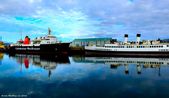 Scotland Greenock the ship repair dock large car ferry Isle of Arran and the 1933 Clyde Steamer TS Queen Mary 20 October 2016 by Anne MacKay (Anne MacKay images of interest & wonder) Tags: scotland greenock ship repair dock caledonian macbrayne car ferry isle arran 1933 clyde steamer ts queen mary xs1 20 october 2016 picture by anne mackay