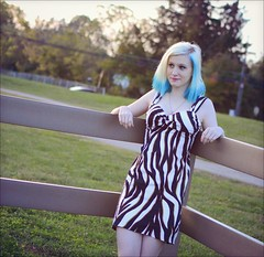 Athena - Park (rbatina) Tags: rubbertoe amateur model modeling pose posing pretty young woman cute pale teen white girl beautiful bare skin teenage blond blonde hair blue highlights thin little petite dress skirt mini miniskirt outside outdoors park eyes nose mouth lips face arms shoulders legs cleavage zebra striped revealing outfit print hot chest necklace jewelry makeup hips waist october 16 16th 2016 curvy tight clothes