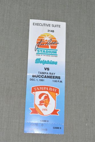 1991 Miami Dolphins JRS ticket stub