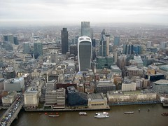 City Towers from Shard - old Billingsgate fish market on the Thames embankment in foreground (streetr's_flickr) Tags: theshardoflondon highrise panorama tallbuildings structures architecture london city riverthames