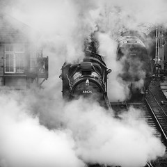 A Freight Departure (powern56) Tags: swanagerailway swanagestation swanage dorset railway train freighttrain 8f 7f 48624 53809 stanier bulleid 34070 manston lightpacific sd somersetdorset steamlocomotive steamrailway steam