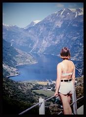 Wife at Geirangerfjord in Norway 1974... (iEagle2) Tags: analog analogfilm analogue colorslide ehefrau ektachrome female frau femme film bra geiranger kodak minolta norway norge summer srt101 woman wife nature pov 1974 seventies 70s 70s