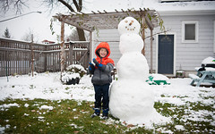 Colin's First Snowman (heightsfidelity) Tags: 3570f34 contax manualfocus adapted zeiss minnesota mn snow colin boy smile