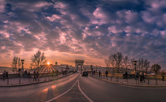Sunset in Chain bridge (Vagelis Pikoulas) Tags: sun sunset sunshine sunburst view budapest buda pest canon 6d tokina 1628mm november autumn 2016 panorama panoramic pano street bridge sky colour hungary europe travel clouds cloud cloudy