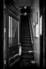 (324/366) Open Door (CarusoPhoto) Tags: hd pentaxda l 1850mm f456 dc wr re hdpentaxdal1850mmf456dcwrre pentax ks2 john caruso carusophoto photo day project 365 366 bw black white stair staircase door open