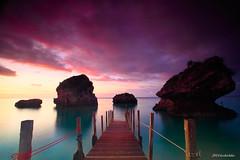 Okinawa  mi-baru beach (koshichiba) Tags: long exposure filter nd lee sunrise okinawa mibaru beach seascape landscape clouds bridge pier rock nature jetty wharf tide nanjo resort ocean boat