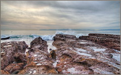 Cloudy Winter Day (tdlucas5000) Tags: hdr seascape clouds photomatix palosverdes rocks waves tidepools sigma24105 winter