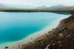 Grnavatn (Daniel Regner) Tags: green fujifilm x100t digital camera daniel regner vacation travel tourism iceland 2016 nature landscape love beauty natural road trip grnavatn cool blue water waters lake body shore stone beach mountains mist fog atmosphere