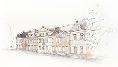 Grand-Rullecourt, Pas-de-Calais, France (Linda Vanysacker - Van den Mooter) Tags: watercolour visiblytalented vanysacker vandenmooter tekening sketch schets potlood pencil lindavanysackervandenmooter lindavandenmooter drawing dessin croquis crayon art aquarelle aquarell aquarel akvarell acuarela acquerello kasteel château castle manoir frankrijk france grandrullecourt pasdecalais
