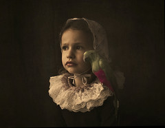 Thoughts Of Emily (Maren Klemp) Tags: fineartphotography fineartphotographer color artistic girl parrot bird painterly evocative expressive ethereal child kid naturallight texture conceptual portrait dreamy dream expression symbolic animal vintage nostalgic melancholy