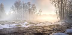 Kermankoski (>>Marko<<) Tags: joki luonto talvi vesi suomi finland kerma kermankoski outdoor mist sunset river whitewater winter frost freeze frozen sumu höyry dusk water nature snow ice panorama haze