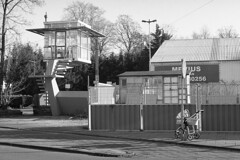 Park the buggy (Arne Kuilman) Tags: pentax k1000 50mm 50mmf14 film scan analogue ilford xp2 amsterdam netherlands nederland street straat blackandwhite kinderwagen buggy parked geparkeerd locked opslot