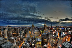 New York City from Rockefeller Centre (gazdrummer1) Tags: nyc newyorkcity topoftherock fisheye hdr citylights sunset rockefeller new york city 16mm nikon manhattan empire state landscape buildings skyscraper long exposure midtown financial district