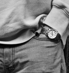 Just killing time..... (tvdflickr) Tags: jeans trousers shirt watch wrist wristwatch bluejeans pocket