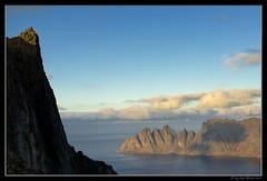 a man on the top (Stenersenfoto) Tags: autumn boy sea seascape mountains male fall norway clouds landscape island nikon senja nikkor50mm oksen nikond800 husfjellet