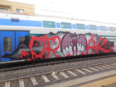 sabbath bloody sabbath (en-ri) Tags: train writing torino graffiti grigio crew rosso nero pipistrello sdk 2014 opak