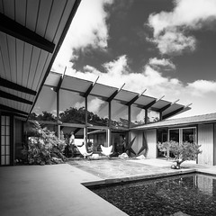 Mills, Mansfield Residence (Chimay Bleue) Tags: road bw white house black architecture modern club asian design la sandiego country modernism courtyard lajolla architect residence mills jolla modernist mansfield midcentury