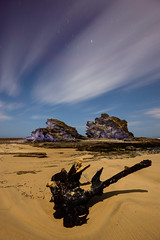 Seeking Day or Night (Rodney Campbell) Tags: longexposure sky lightpainting rock night clouds stars australia newsouthwales moonlight nambuccaheads