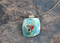 IMG_5731 (earthexpressions) Tags: blue art hand teal cyan tiffany pendant sculpted polymerclayjewelry