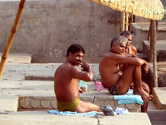 india (gerben more) Tags: shirtless people india man men parasol varanasi benares langot