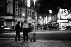 office man and lady (C.Kunta) Tags: life street man black japan lady night iso800 office cross snap backside nara kentmere400 push1step