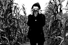 (kaylaelizrose) Tags: white black halloween girl field contrast self dark skeleton scary corn october mask witch haunted spooky maze bandana
