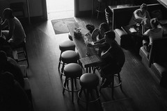 bar scene (Andy Kennelly) Tags: santa bw film bar dark monica 400 stool ilford