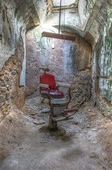 """Barber's Chair (aka Buddy) Tags: 2014 fall easternstatepenitentiary prison old neglect ruins decay rusty dusty crumble criminal criminals jail cell cells incarceration punish punishment """"national historic landmark"""" philadelphia """"philadelphia county"""" pennsylvania pa og hdr"""