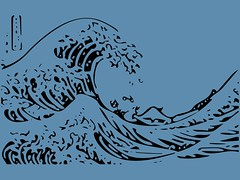 or The Great Wave off Kanagawa Wallpaper 1 (sjrankin) Tags: wallpaper art illustration edited background hd hokusai tablet japaneseart vector ukiyoe greatwaveoffkanagawa  c1832 15october2014