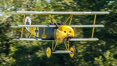 Yellow Green Fokker DR.1 (4myrrh1) Tags: canon airplane rebel virginia aircraft aviation airplanes airshow va virginiabeach biplane t3i 2014 triplane pungo ef100400l grassstrip biplanesandtriplanes
