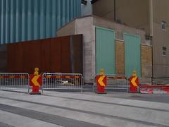 Urban collage (Eva the Weaver) Tags: building göteborg industrial power sweden gothenburg arrows corrugated cones rosenlund