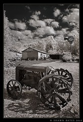 Dairy-Farm-Tractor (SHAWN-BATES-IMAGES) Tags: blackandwhite infrared antiquetractor tractors oldtractor farmtractor antiquetractors digitalinfraredphotography oldtractors farmpictures lifepixel countrylandscapes tractorpictures nex7 sonynex7 e1855mm3556oss