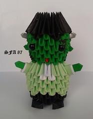 Frankestein Origami 3d (Samuel Sfa87) Tags: halloween paper la origami arte crafts craft sfa block con carta artisan folding papercraft frankestein arteempapel blockfolding origami3d sfaorigami sfa87