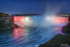 Colored Spotlights on the Horseshoe Falls in Niagara Falls, Canada (PhotosToArtByMike) Tags: mist ontario niagarafalls waterfall niagara falls horseshoefalls spotlights niagarariver ontariocanada canadianfalls