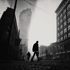 The Day After Tomorrow (. Jianwei .) Tags: street morning silhouette fog vancouver blackwhite mood sony atmosphere 2014 nex cordovast wbuilding kemily