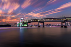 Tokyo Bay in The Evening Glow (45tmr) Tags: city longexposure nightphotography japan night landscape tokyo cityscape nightscape pentax 東京 lighttrails 夜景 東京タワー k5 レインボーブリッジ 光跡 pentaxk5